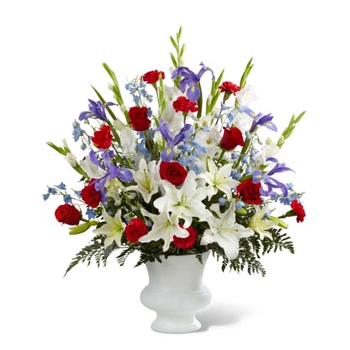 Funeral flower arrangement for men with patriotic flowers