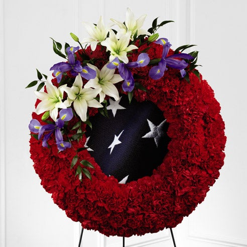 Patriotic flower wreath, funeral flowers for men for cheap flower delivery