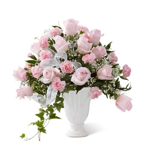 Sympathy pedestal vase with light pink roses and carnations with baby's breath