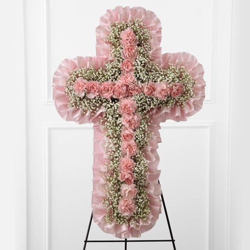 pink flower cross shaped funeral standing spray from send flowers