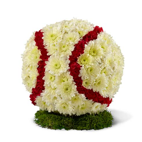 Baseball sympathy arrangement with red and white flowers