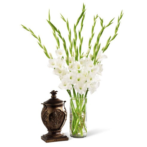 Funeral arrangement with white gladiolus flowers in cylinder vase