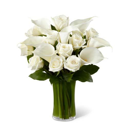 Sympathy white rose flower arrangement with calla lilies