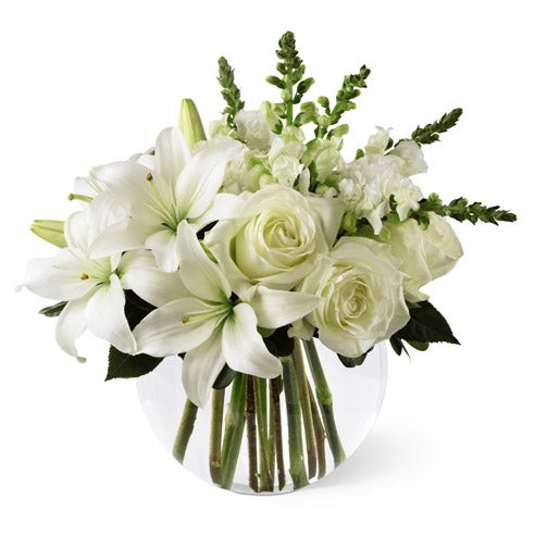 White rose modern arrangement from the flower shop with white lilies
