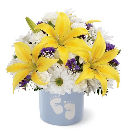 White daisies and yellow lilies in baby boy bouquet