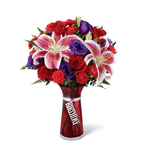 Birthday Wishes Stargazer Lily Bouquet At Send Flowers