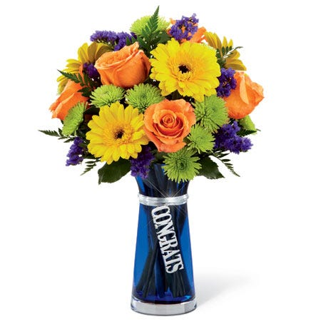 Congrats flowers of cheap flowers in blue flower vase with orange roses and yellow daisies