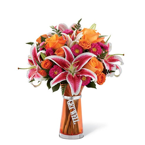 Orange rose and lily bouquet with cheap flowers for cheap flower delivery