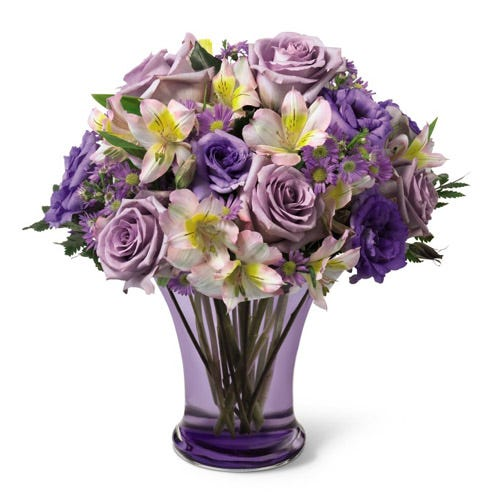 Purple roses, bi-colored alstroemeria and purple monte casino