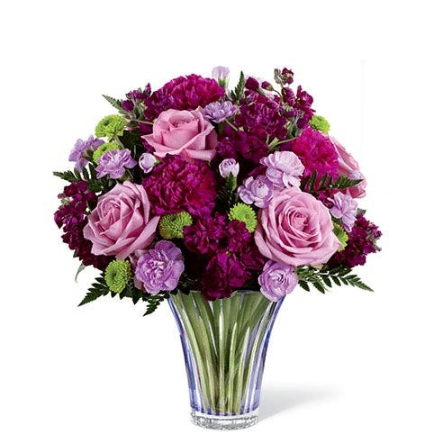 Lavender rose and purple carnations mixed bouquet in luxury purple vase