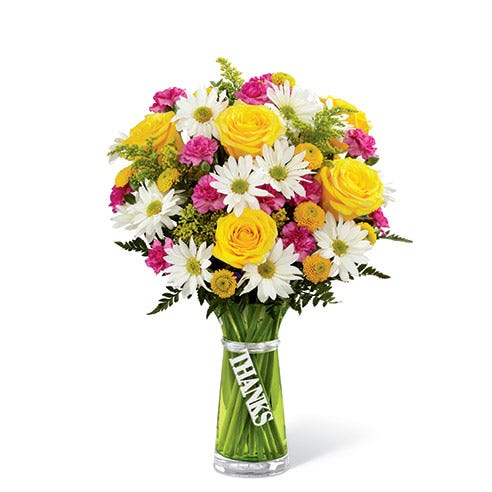 Yellow rose and white traditional daisy thank you bouquet with carnations