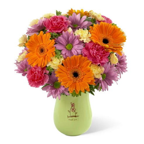 orange gerbera daisy thank you bouquet with fuchsia and yellow carnations