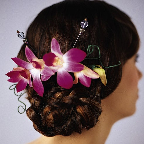 Purple orchid headpiece, purple orchid flower, orchid hair accessory at sendflowers
