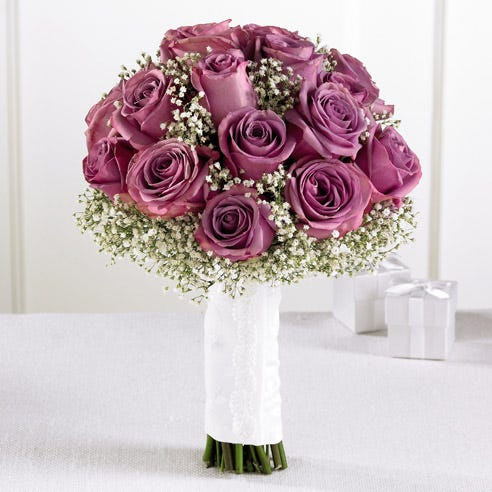 Lavender Rose & Baby's Breath Handheld Bouquet