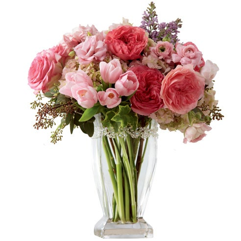Pink garden roses with pink tulips and hydrangea for florist delivery