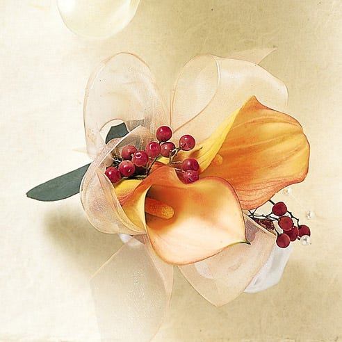 White calla lily wrist corsage for flower delivery with cheap flowers & white lilies