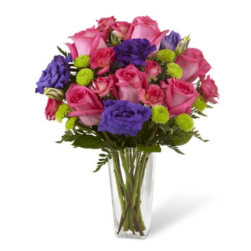 Pink roses and fuchsia roses with green button poms