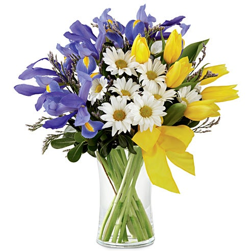 Yellow tulip blue iris and white daisy bouquet with tulips meaning