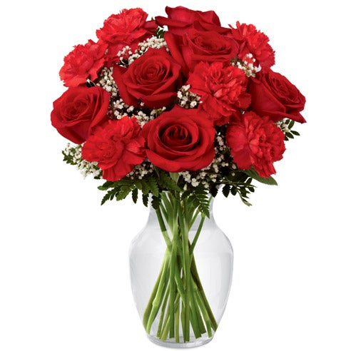 Love flower bouquet with red roses and red carnations arranged with white baby's breath