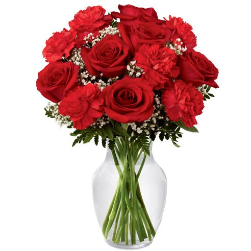 Love flower bouquet with red roses, red carnations and white baby's breath