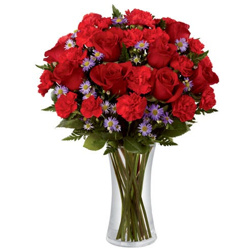 Red rose red carnation and purple flower bouquet for same day delivery flowers