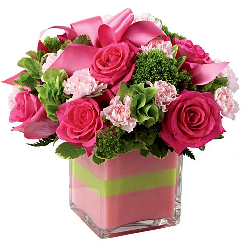 Light pink mini carnations with roses and bells of ireland bouquet
