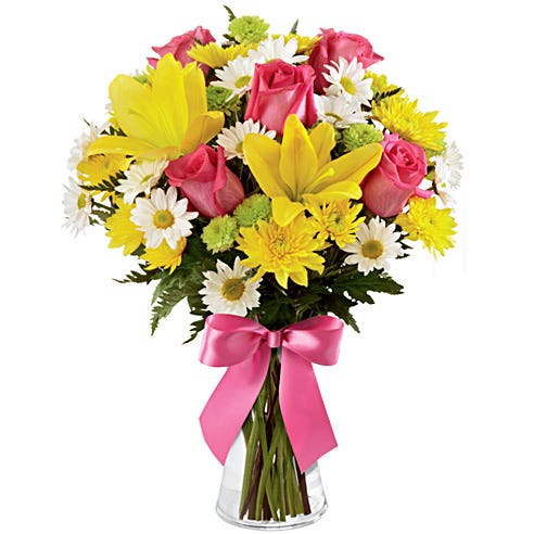 Yellow lily hot pink rose bouquet delivery from send flowers with pink bow