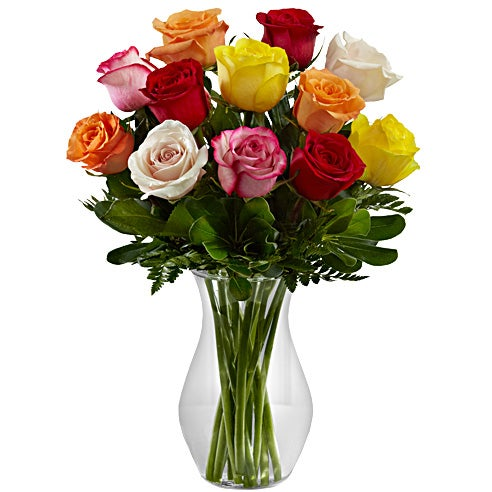 Mixed long stem roses bouquet with red roses, yellow roses & pink roses