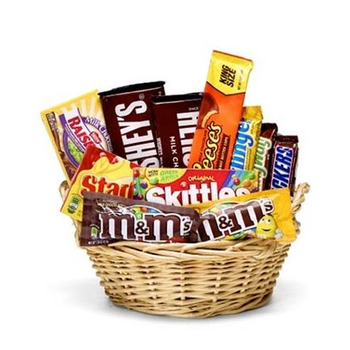 Best holiday gift basket with candy from send flowers with m&ms, reese's, hershey's and snickers
