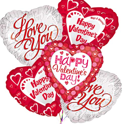Valentines day ballon bouquet with i love you mylar balloons bouquet