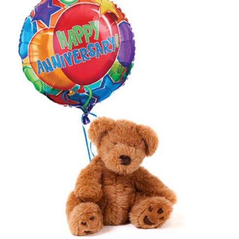Same day teddy bear delivery from send flowers usa with happy anniversary balloon