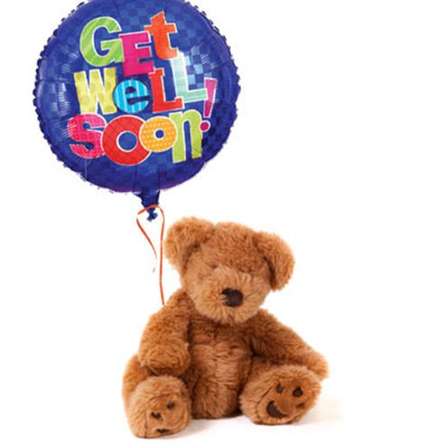 Get well soon teddy bear with get well soon mylar floating balloon