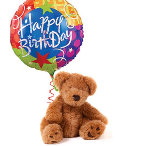 Happy birthday balloon bouquet with teddy bear delivery