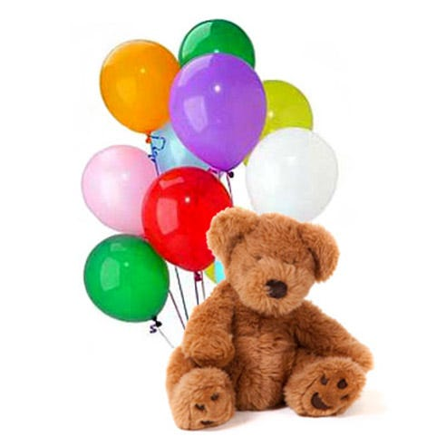Teddy bear and mixed floating latex balloon bouquet