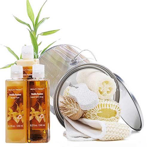 Vanilla spa gifts basket set with vanilla body products, body loofah and pumice stone