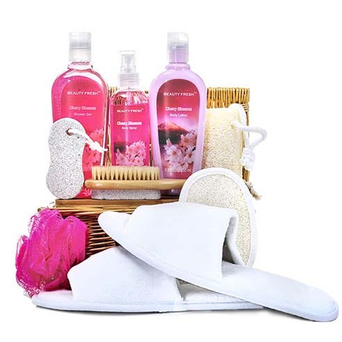 cheap spa gifts basket delivery at send flowers with slippers, gel, body spray and more