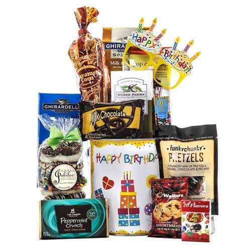 cheap birthday gift basket delivery, candy and chocolate birthday gift basket