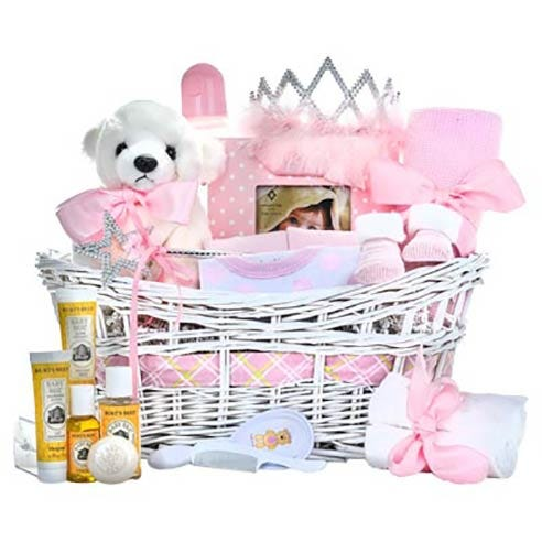 Princess Newborn Baby Girl Gifts Basket with teddy bear, burts bees, tiara and wand