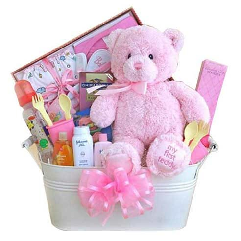 newborn girl gift delivery, a newborn baby girl gift basket and teddy bear delivery