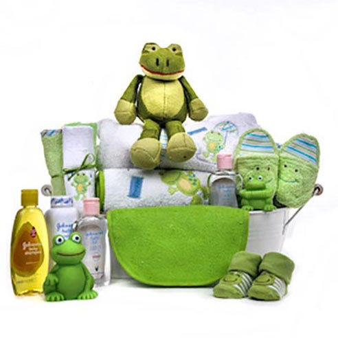 new baby boy frog gift basket, newborn baby boy gift basket delivery for new mother