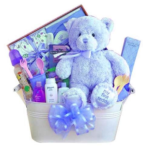 baby boy gift delivery same day with blue teddy, baby shampoo, and useful gifts