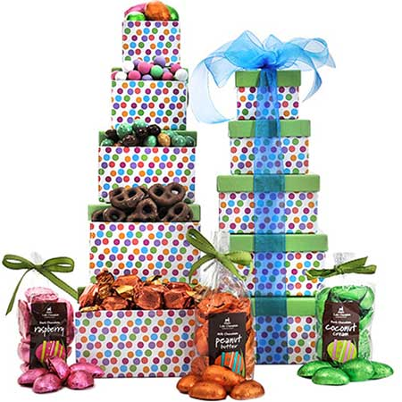 Gourmet gift basket delivery from send flowers with cheap presents tower