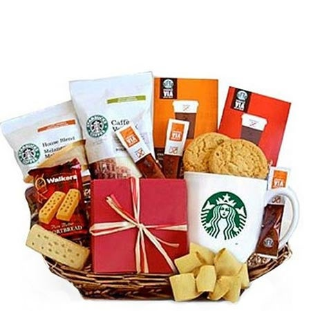 starbucks gift basket same day delivery, a cheap coffee gift basket