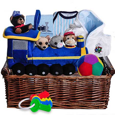 Next day delivery train themed new baby boy gift basket