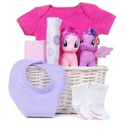 new baby girl gift delivery and my little pony gift basket for babies