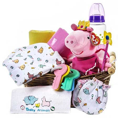 peppa pig baby gift basket, a kids gift basket delivery with peppa pig stuffed animal