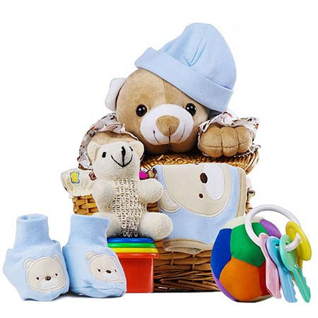 New baby boy gift basket with stuffed teddy bear and baby toys