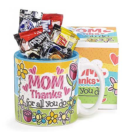 Classic gifts for mom Mothers Day candy mug gift basket