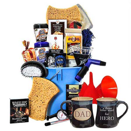Father dad car wash gift basket delivery with chocolates, candy, popcorn and cookies