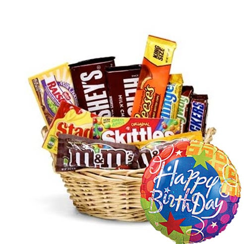 Cheap gift basket delivery of gourmet candy & same day balloon delivery